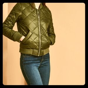 French Connection Quilted Bomber Army Jacket M